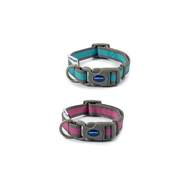 Ancol Recyclable Dog Collar pink and blue